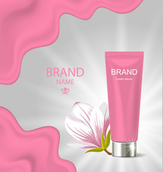 Advertising poster with cosmetic cream and vector