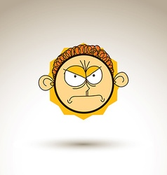 Artistic colorful drawing of angry person face vector