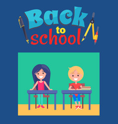 back to school poster with inscription and divider vector image