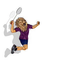 Badminton player lion in human body jumping to vector