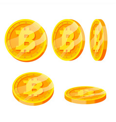 Bitcoin gold coins set flip different vector