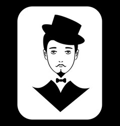 black and white icon with vintage gentleman vector image