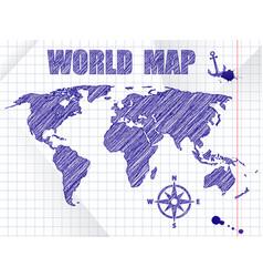 blue ink sketched navigation world map on school vector image