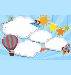 Border template with kids flying in sky vector