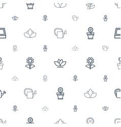 botanical icons pattern seamless white background vector image