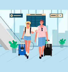 business trip or holiday relaxation airport couple vector image