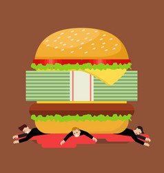 businessmen under hamburger crisis vector image