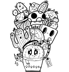 Cactus love easy doodle black and white isolated vector