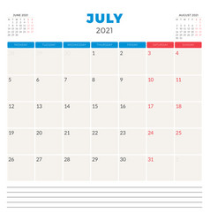Calendar planner for july 2021 week starts on vector