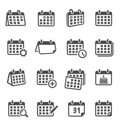 Calendars for time planning glyph icons set vector