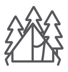 camping tent line icon travel and tourism vector image