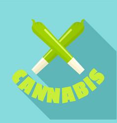 Cannabis cigar logo flat style vector