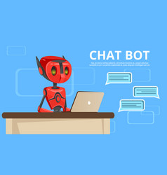 Cartoon chat bot poster background template vector