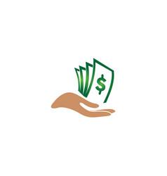 Cash money in hand for logo design on white vector