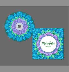 cd cover design template with floral mandala style vector image