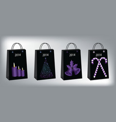 Christmas shopping bags vector image