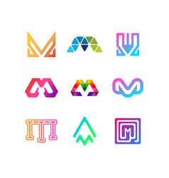 Collection letter logo m color gradient vector