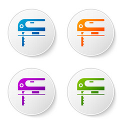 Color electric jigsaw with steel sharp blade icon vector