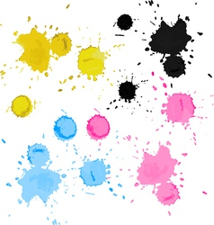 Colorful bright ink splashes vector