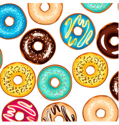colorful glazed donuts background vector image