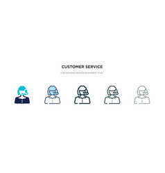 Customer service icon in different style two vector
