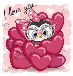 Cute cartoon penguin in hearts vector