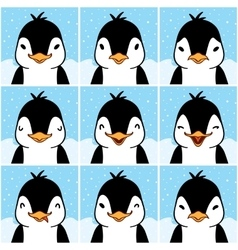 Cute penguin cartoon emotion faces vector