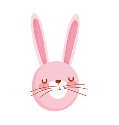 cute rabbit face cartoon character on white vector image