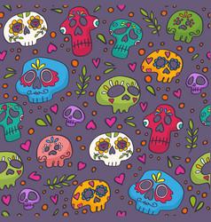 day dead mexican skulls skulls pattern vector image
