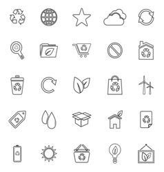 Ecology line icons on white background vector image