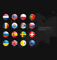 european countries flags 3d glossy icons set vector image