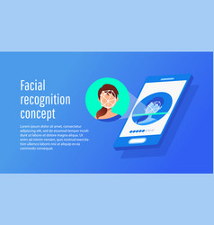 face recognition technology concept vector image