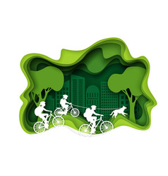family biking layered paper cut style vector image