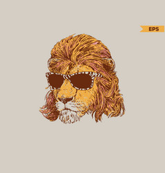 fashionable lion 80s vector image