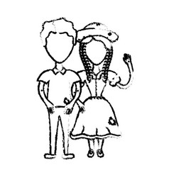 figure cute brazilian couple with hat and typical vector image