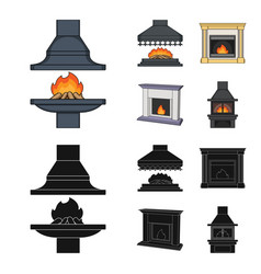 Fire warmth and comfortfireplace set collection vector