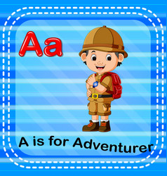 Flashcard letter a is for adventurer vector