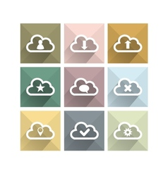 Flat long shadow cloud icons vector image