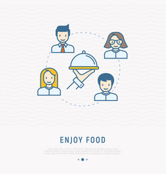 food delivery concept hand with dish and people vector image