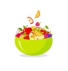 fresh fruit salad isolated on white background vector image