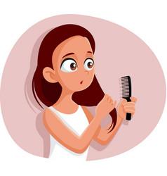 Funny teen girl combing her hair cartoon vector