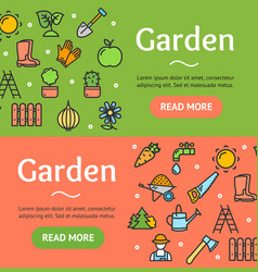 Gardening banner horizontal set vector