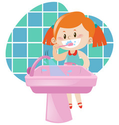 girl brushing teeth by herself vector image