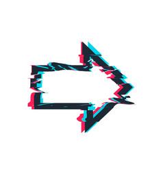 Glitch distortion frame arrow vector