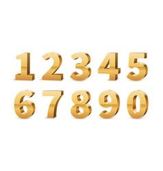Gold 3d numbers big golden number luxury vector