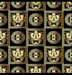 Gold baroque seamless pattern modern floral black vector