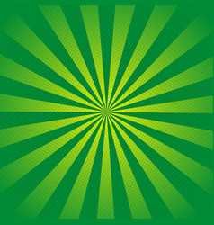 green rays retro background with halftones stylish vector image