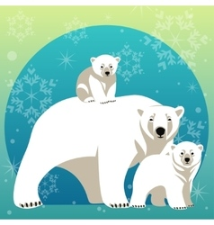 Greeting Card with Polar bear family vector