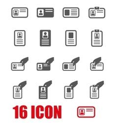 Grey id card icon set vector
