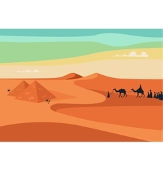 Group of people with camels caravan riding vector